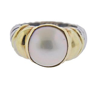 David Yurman 14k Gold Silver Pearl Cable Ring