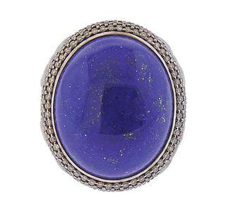 David Yurman Split Shank Silver Diamond Lapis Ring