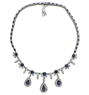 14k Gold 20cts Diamond Sapphire Necklace