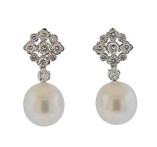 18k Gold South Sea Pearl Diamond Day & Night Earrings
