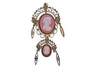 Antique Victorian 14K Gold Agate Cameo Brooch Pendant