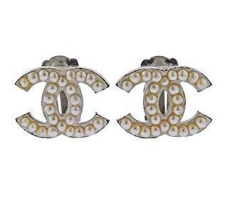 Chanel CC Costume Pearl  Earrings