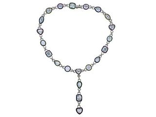 18K Gold Diamond Aquamarine Gemstone Necklace