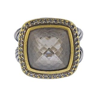 David Yurman Silver 18K Gold Diamond Quartz Albion Ring