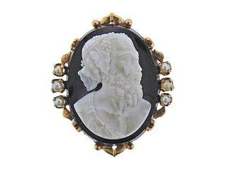 Antique 18K Gold Hardstone Cameo Pearl Brooch Pendant