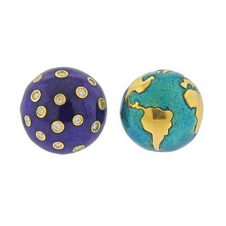 Verdura 18K Gold Diamond Enamel Night & Day Stud Earrings