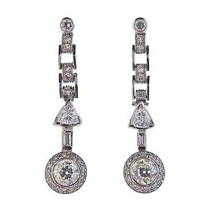 18K Gold Diamond Drop Earrings