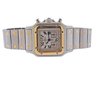 Cartier Santos Galbee 18k Gold Steel Chronograph Date Watch 2425