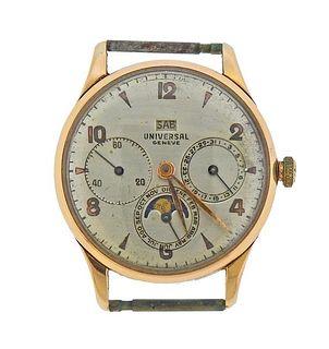 Universal Geneve 18k Gold Triple Date Moonphase 18k Rose Gold Watch
