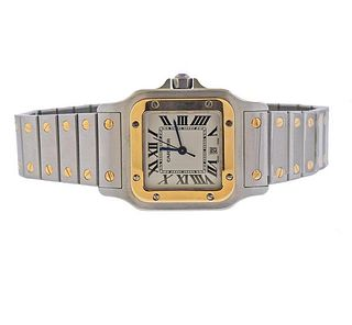 Cartier Santos Galbee 18k Gold Steel Watch 1566