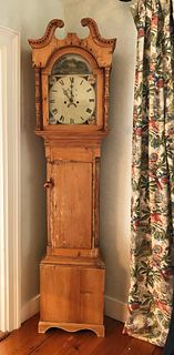 19th Century English Pine Grandfather's Clock
