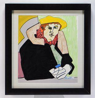 Richard DeQuattro Cubist Portrait Painting
