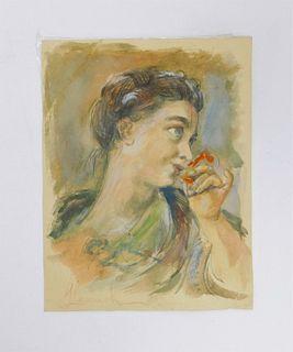 Franz Von Lenbach Portrait of a Woman WC Painting