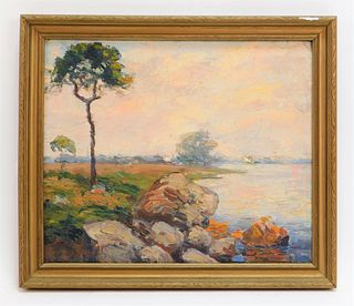 George Grinnell Rocky Shore Landscape Painting