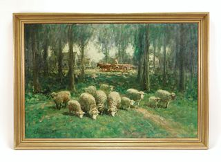Manor of G. A. Hays Impressionist Sheep Painting