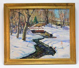 Antonio Cirino Frozen Stream Landscape Painting