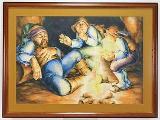 K. Lauben Illustrative Watercolor Painting