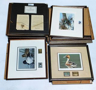 25PC Water Fowl Lithograph & Stamp Collection