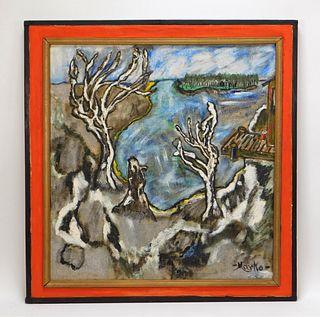 Style of Marko Celebonov Landscape Painting