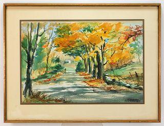Spencer Crooks Autumnal Landscape WC Painting