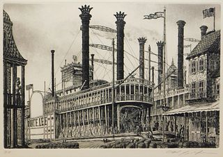 Alan Jay Gaines Robert E. Lee Steamboat Etching