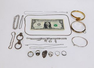 17PC Estate Sterling Silver Jewelry Group