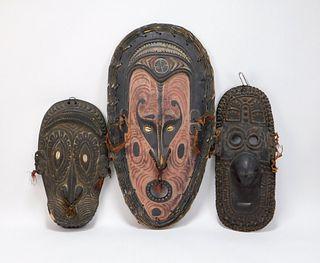 3PC Sepik River New Guinea Carved Wood Masks