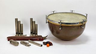 8PC Copper Drum & Whistle Instrument Group