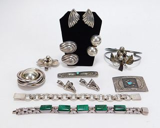 11PC Mexican Sterling Silver Jewelry Group