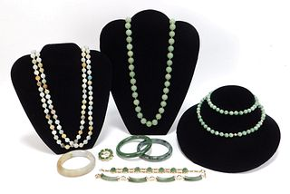 9PC Estate Hardstone and Jadeite Jewelry Group