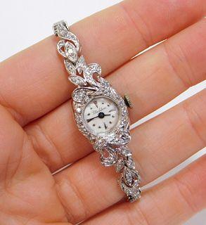 Meldon 14K White Gold Diamond Cocktail Watch