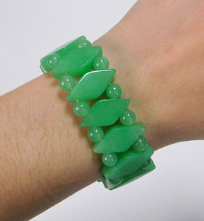 Chinese Carved Jadeite Bracelet