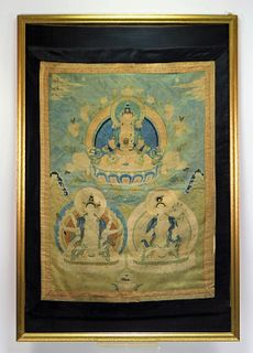 Chinese Qing Dynasty Embroidered Buddhist Textile