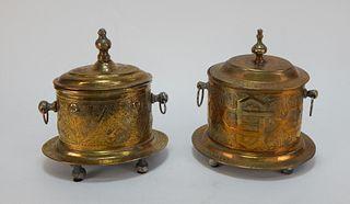 PR Brass Anglo Indian Botanical Tea Caddies