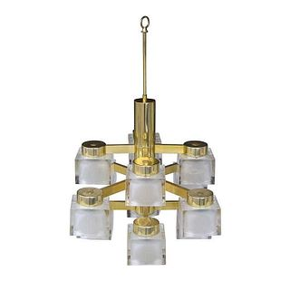 Ice Cube & Brass 12-Light Chandelier by Gaetano Sciolar