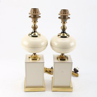 Ceramic and Brass Table Lamps, Circa 1960