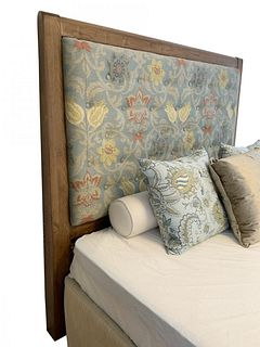 Upholstered Queen Size Headboard With Solid Wood Frame