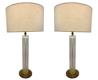Lucite and Brass Table Lamps with Graduated Bases