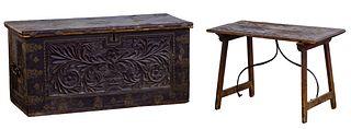 Italian Coffer and Oak Side Table
