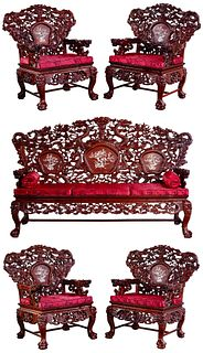 Asian Contemporary Style Couch and Chair Collection