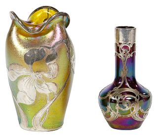 (Attributed to) Loetz 'Silberiris' Glass Vase with La Pierre Sterling Silver Overlay