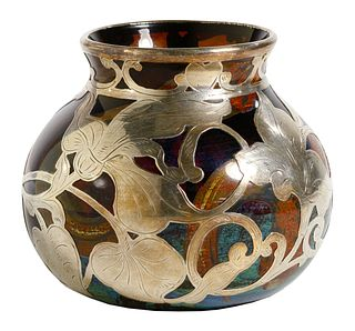 Amberina Glass Vase with Fine Silver Overlay