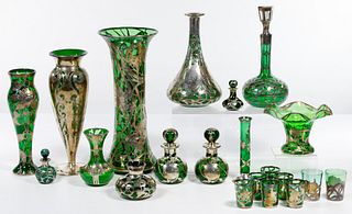 Baccarat, Alvin, La Pierre and Gorham Silver Overlay Green Glass Assortment