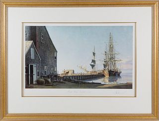"""John Stobart Limited Edition Lithograph """"Straight Wharf Nantucket in 1832"""""""