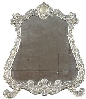19th C Austra-Hungarian Silver Crest Mirror
