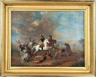 Early 19th C European Calvary Battle Scene, O/C
