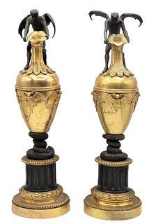 Important Pair of Gilt Dore Bronze Sticks