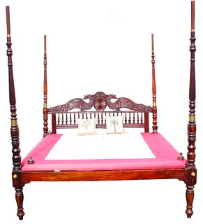 Carved Anglo-Indian Four Poster Bed