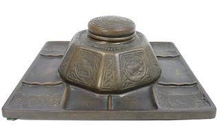 """Bronze Tiffany Studios """"Zodiac"""" Inkwell"""