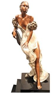"""Alice Riordan (20th C) Bronze, """"Evening"""""""